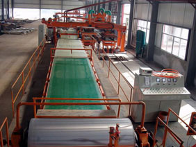 Asbestos tile production line